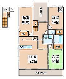 大阪府八尾市山本町3丁目の賃貸アパートの間取り