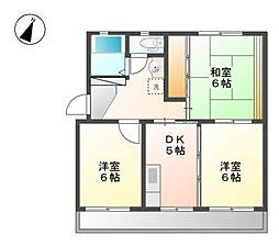 秋山ハイツ B棟[3階]の間取り