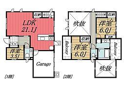 [一戸建] 千葉県成田市玉造6丁目 の賃貸【/】の間取り