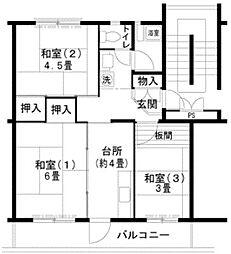 UR泉北庭代台二丁[4階]の間取り