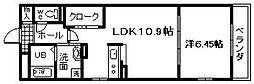 大阪府貝塚市東山6丁目の賃貸アパートの間取り