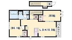 JR播但線 福崎駅 徒歩8分の賃貸アパート 2階2LDKの間取り