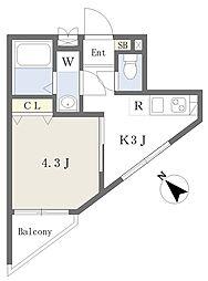 ハイホーム 3階1Kの間取り