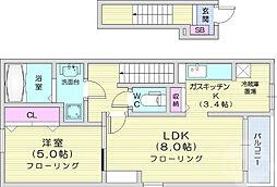 フェリーチェ上野山 2階1LDKの間取り