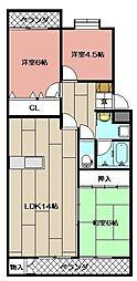 ヴィラ青山 205号[2階]の間取り