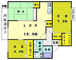 福岡県古賀市舞の里2の賃貸アパートの間取り
