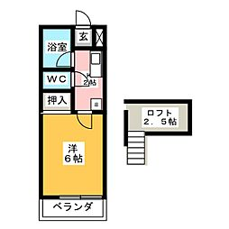 タウンコーポ6[2階]の間取り