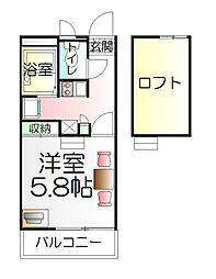 東京都足立区江北1丁目の賃貸アパートの間取り
