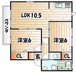 福岡県北九州市若松区白山1丁目の賃貸アパートの間取り