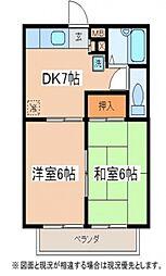 ベルマンション[2階]の間取り