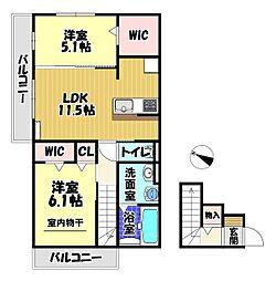 (仮称)D-room 大阪狭山半田3丁目 2階1LDKの間取り