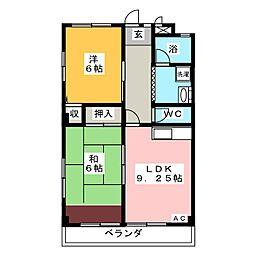 愛知県岡崎市竜美旭町の賃貸マンションの間取り
