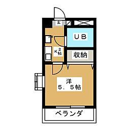 リバーサイドKUJI 2階1Kの間取り