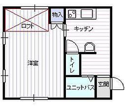 JR奥羽本線 蔵王駅 坂巻バス停下車 徒歩1分の賃貸アパート 2階1DKの間取り