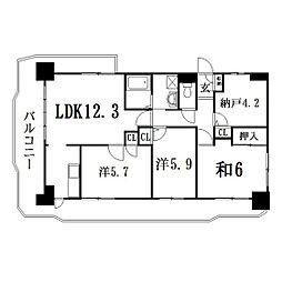 静岡県浜松市西区入野町の賃貸マンションの間取り