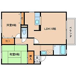 奈良県奈良市佐保台2丁目の賃貸アパートの間取り