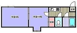 信開セルーラ七尾駅EAST  II 2階2Kの間取り