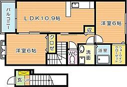 ブルックサイドレジデンス A棟[2階]の間取り