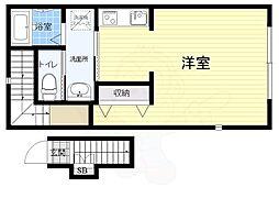 JR中央線 三鷹駅 徒歩14分の賃貸アパート 2階1Kの間取り