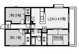 スカイハイムII[3階]の間取り