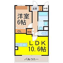 愛知県名古屋市中村区岩塚本通1丁目の賃貸マンションの間取り