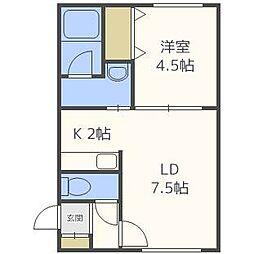北海道札幌市北区北二十一条西2丁目の賃貸アパートの間取り
