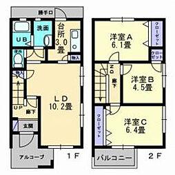 愛媛県松山市居相6丁目の賃貸アパートの間取り