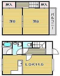 [テラスハウス] 大阪府茨木市耳原3丁目 の賃貸【/】の間取り