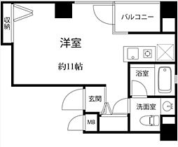 昭美人形町マンション 4階ワンルームの間取り