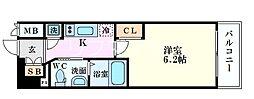 Osaka Metro中央線 阿波座駅 徒歩6分の賃貸マンション 7階1Kの間取り