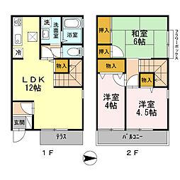 [テラスハウス] 東京都西東京市中町 の賃貸【東京都 / 西東京市】の間取り