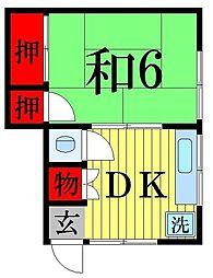 第一大徳荘[205号室]の間取り