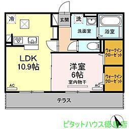 徳島県徳島市庄町1の賃貸アパートの間取り