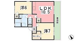 サニーハイツ田寺B棟[101号室]の間取り