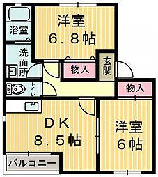 栃木県鹿沼市鳥居跡町の賃貸アパートの間取り