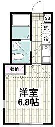 小田急江ノ島線 藤沢本町駅 徒歩9分の賃貸アパート 1階1Kの間取り