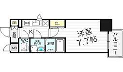 レジュールアッシュ梅田LUXE 5階1Kの間取り