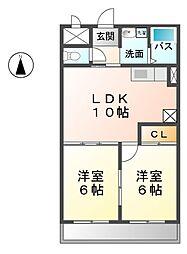 愛知県清須市阿原池之表の賃貸マンションの間取り