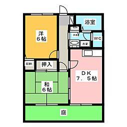 静岡県磐田市岩井の賃貸アパートの間取り