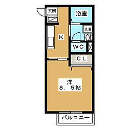 レヴールメゾン紫竹[2階]の間取り
