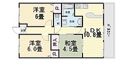 大阪府堺市西区鶴田町の賃貸マンションの間取り