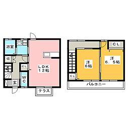 メゾネット江吉良[1階]の間取り