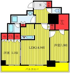 JR埼京線 板橋駅 徒歩9分の賃貸マンション 4階ワンルームの間取り