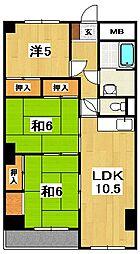 黒川第二マンション[602号室]の間取り