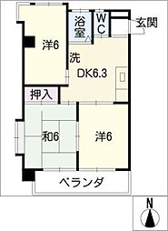 ビワハイツナカネ[4階]の間取り