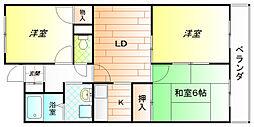 大阪府羽曳野市恵我之荘5丁目の賃貸マンションの間取り