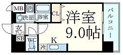 Comforespa新大阪 9階ワンルームの間取り