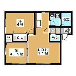 セジュール青葉[1階]の間取り