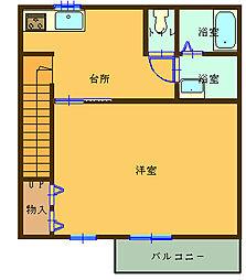 (仮)船尾新築アパート 2階1Kの間取り
