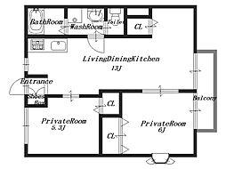 クレアール21[2階]の間取り